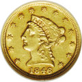 Liberty Quarter Eagles: , 1846-D $2 1/2 AU55 NGC. Variety 7-K. A pleasing light golden-brownpiece with clean surfaces and an above average strike. T...