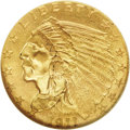 Indian Quarter Eagles: , 1911-D $2 1/2 MS61 NGC. Satiny, with a well defined mintmark and lovely, deep copper-red and gold coloration. The obverse a...