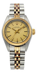 Timepieces:Wristwatch, Rolex Lady's Steel and Gold Oyster Perpetual Watch. ...