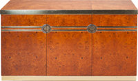 Pierre Cardin Burled Olive and Brass Lift-Top Bar Credenza Circa 1970. Engraved Pierre Cardin 30-1/4