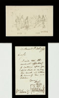 Autographs:Artists, George Cruikshank, English illustrator (1792 - 1878). OriginalSIGNED Pencil Sketch and Autographed Note. . ...