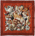 """Luxury Accessories:Accessories, Hermes 90cm Red & Brown """"Gibiers,"""" by Henri de Linares SilkScarf. Very Good Condition. 36"""" Width x 36"""" Length...."""