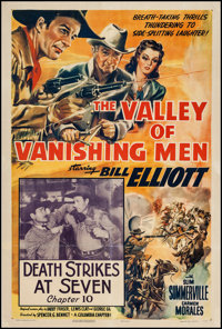 "The Valley of Vanishing Men (Columbia, 1942). One Sheet (27"" X 41"") Chapter 10 --""Death Strikes At Seven..."