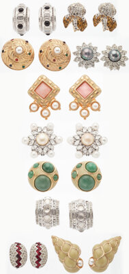 """Judith Leiber Set of Ten; Gold, Silver & Crystal Earrings Very Good Condition Appx. 1"""" Width x 1"""""""
