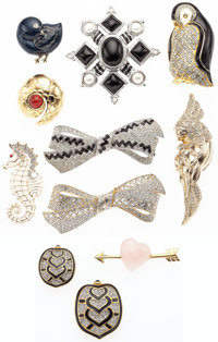 """Judith Leiber Set of Eleven; Gold, Silver & Crystal Brooches Very Good Condition Approx. 1"""" Width"""