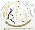 Luxury Accessories:Accessories, Judith Leiber Set of Nine; Gold, Silver, Glass Pearl & CrystalNecklaces. Very Good Condition. Various Lengths. ...