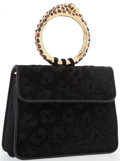 "Judith Leiber Black Suede Top Handle Bag with Gemstones Excellent Condition 8"" Width x 7"" Height"