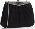 """Luxury Accessories:Accessories, Judith Leiber Black Satin Evening Bag with Silver Clasp. VeryGood Condition. 8"""" Width x 7"""" Height x 1.5"""" Depth. ..."""