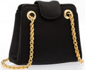 """Luxury Accessories:Accessories, Judith Leiber Black Satin Shoulder Bag with Gold Hardware. Very Good Condition. 5"""" Width x 5"""" Height x 2"""" Width, Shoul..."""