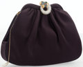 """Luxury Accessories:Accessories, Judith Leiber Indigo Satin Evening Bag with Crystal Panther Clasp.Excellent Condition. 7"""" Width x 6"""" Height x 2""""Dept..."""