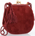 "Art Glass:Daum, Judith Leiber Red Suede & Karung Shoulder Bag with Tassel.Very Good to Excellent Condition. 5"" Width x 6"" Height x1""..."