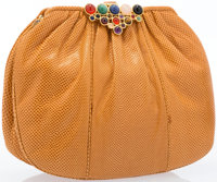 "Judith Leiber Orange Karung Shoulder Bag with Gemstone Clasp Very Good Condition 8.5"" Width x 6"""