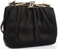 """Luxury Accessories:Accessories, Judith Leiber Black Satin Evening Bag with Silver Crystal &Black Enamel Clasp. Very Good Condition. 8"""" Width x 6""""Hei..."""