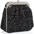 "Luxury Accessories:Accessories, Judith Leiber Beaded Black Lace & Silver Crystal Evening Bag.Very Good Condition. 7"" Width x 6.5"" x 2"" Depth. ..."