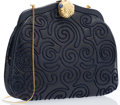 "Luxury Accessories:Accessories, Judith Leiber Navy Blue Embroidered Karung Evening Bag with GoldHardware. Excellent Condition. 7.5"" Width x 6.5""Heig..."
