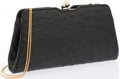 """Luxury Accessories:Accessories, Judith Leiber Black Ostrich Evening Bag with Gold Hardware. Excellent Condition. 9"""" Width x 5"""" Height 2"""" Depth. ..."""