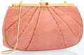 "Luxury Accessories:Accessories, Judith Leiber Pink Python Evening Bag with Gemstone Clasp.Excellent Condition. 9"" Width x 5"" Height x 1.5""Depth. ..."
