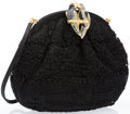 "Luxury Accessories:Accessories, Judith Leiber Black Lace Evening Bag with Crystal Parrot Clasp.Excellent Condition. 8"" Width x 7"" Height x 1""Depth..."