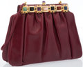 "Luxury Accessories:Bags, Judith Leiber Burgundy Leather Evening Bag. Very Good Condition. 8.5"" Width x 7"" Height x 3"" Depth. ..."