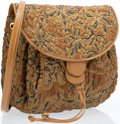 "Luxury Accessories:Accessories, Judith Leiber Brown Floral Leather Shoulder Bag with Gold Hardware. Excellent Condition. 8.5"" Width x 10"" Height x 3"" ..."