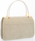 """Luxury Accessories:Accessories, Judith Leiber Beige Suede Tote Bag with Gold Hardware. Very GoodCondition. 9"""" Width x 6.5"""" Height x 3.5"""" Depth. ..."""