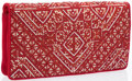 """Luxury Accessories:Accessories, Judith Leiber Red Embroidered Satin & Silver and Red CrystalEvening Bag. Very Good to Excellent Condition. 10"""" Width..."""