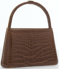 """Judith Leiber Shiny Brown Alligator Top Handle Bag Good to Very Good Condition 8.5"""" Width x 6"""" He"""
