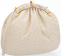 "Luxury Accessories:Accessories, Judith Leiber Beige Ostrich Evening Bag with Rose Quartz Clasp.Very Good to Excellent Condition. 10"" Width x 8""Heigh..."