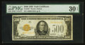Small Size:Gold Certificates, Fr. 2407 $500 1928 Gold Certificate. PMG Very Fine 30 EPQ.. ...