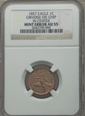Errors, 1857 1C Flying Eagle Cent -- Obverse Die Chip in Center -- AU55NGC....
