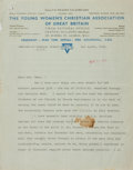 Autographs:Non-American, Clementine Churchill Typed Letter Signed. Dated April 1, 1942. ....