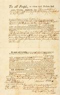 Books:Americana & American History, [Massachusetts]. Eighteenth-Century Deed of Land. Dated March 29,1769. ...