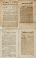 Books:Periodicals, [Newspapers]. Collection of Three Seventeenth-Century BritishNewspapers and One Tract. Dated April 15, 1680 - May 11, 1695....