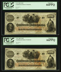 Confederate Notes:1862 Issues, T41 $100 1862 Cr.318A. Two Examples. ... (Total: 2 notes)