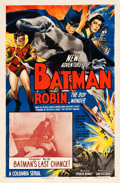 "Movie Posters:Serial, The New Adventures of Batman and Robin (Columbia, 1949). One Sheet(27"" X 41"") Chapter 10--""Batman's Last Chance!"". ..."