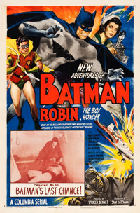 "The New Adventures of Batman and Robin (Columbia, 1949). One Sheet (27"" X 41"") Chapter 10--""Batman's Last..."