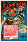 """Movie Posters:Serial, Superman (Columbia, 1948). One Sheet (27.5"""" X 41"""") Chapter8--""""Superman to the Rescue."""". ..."""
