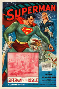 """Superman (Columbia, 1948). One Sheet (27.5"""" X 41"""") Chapter 8--""""Superman to the Rescue."""""""