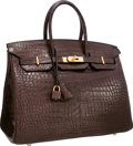 "Luxury Accessories:Bags, Hermes 35cm Matte Havane Porosus Crocodile Birkin Bag with GoldHardware. Excellent Condition. 14"" Width x 10"" Height..."