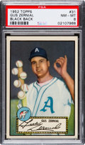 Baseball Cards:Singles (1950-1959), 1952 Topps Gus Zernial (Black Back) #31 PSA NM-MT 8 - Only TwoHigher....