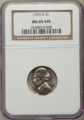 Jefferson Nickels, 1953-D 5C MS65 Five Full Steps NGC. PCGS Population (77/15). Numismedia Wsl. Price for problem free NGC...