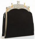 "Luxury Accessories:Accessories, Judith Leiber Black Satin & Silver Crystal Evening Bag withSilver and Gold Hardware. Very Good Condition. 6.5"" Width..."