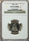 Proof Seated Quarters: , 1863 25C PR63 Cameo NGC. NGC Census: (5/23). PCGS Population(7/27). ...