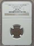 Civil War Tokens, S. Whited & Co., 97th Illinois Volunteers, Sutler Token AU58NGC. S&I-IL-97-5B, R.6....