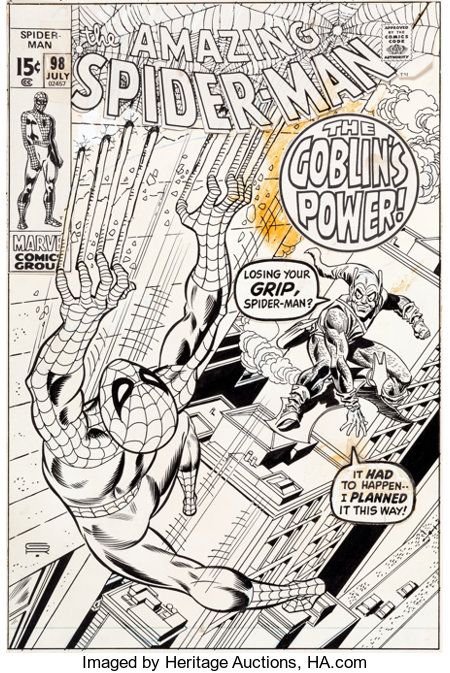 Gil Kane and Frank Giacoia Amazing Spider-Man #98 Cover Original Art (Marvel, 1971)....