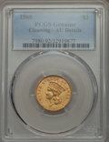 Three Dollar Gold Pieces: , 1860 $3 -- Cleaning -- PCGS Genuine. AU Details. NGC Census: (16/265). PCGS Population (29/210). Mintage: 7,036. Numismedia...