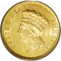Three Dollar Gold Pieces: , 1854 $3 MS65 PCGS. The 1854 was the first year of issue of whatsome considered to be an unnecessary denomination. Many wer...