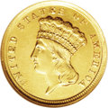 Three Dollar Gold Pieces: , 1854-D $3 --Repaired--ANACS. AU50 Details. Variety 1-A, the onlydie pairing. As with all genuine '54-D threes, this piece s...