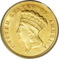 Three Dollar Gold Pieces: , 1856 $3 MS61 PCGS. The 1856, with a mintage of 26,010 business strikes, is only moderately scarce as a date. Strictly Uncir...