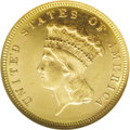 Three Dollar Gold Pieces: , 1882 $3 MS65 ★ NGC. A moderately prooflike Gem with pleasingpreservation and an exacting str...